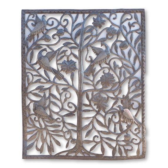 Haitian Home Sculpture, Framed Bird Tree of Life, Handmade Fair Trade Home Decor 31x37in.