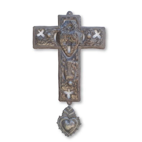 Lucky Cross, Handcrafted Haitian Metal Religious Sculpture, Fair Trade 13x24