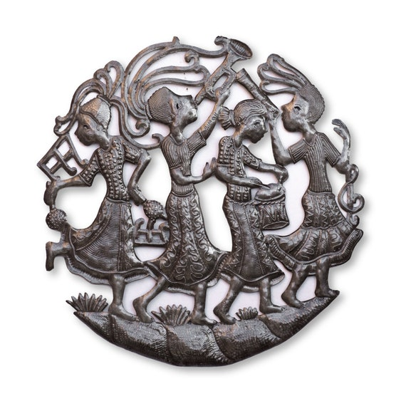Haitian Metal Art, Female Rah Rah Band Handmade Metal Sculpture, One-of-a-Kind 23x23in.