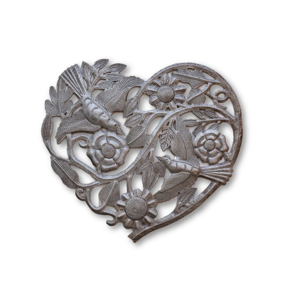 Heart of the Garden, Handcrafted Metal Sculpture, One-of-a-Kind 11x10.5