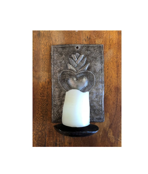 "Metal Heart Wall Sconce Candle Holder, Crafted in Haiti 4"" x 6"" x 3"" (candles not included)"