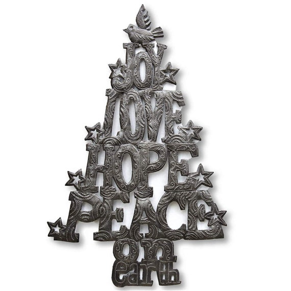 Christmas Tree, Joy, Lope, Hope, and Peace on Earth, Haitian Metal Wall Art, Holiday Decor 10.75 x 16.75 Inches