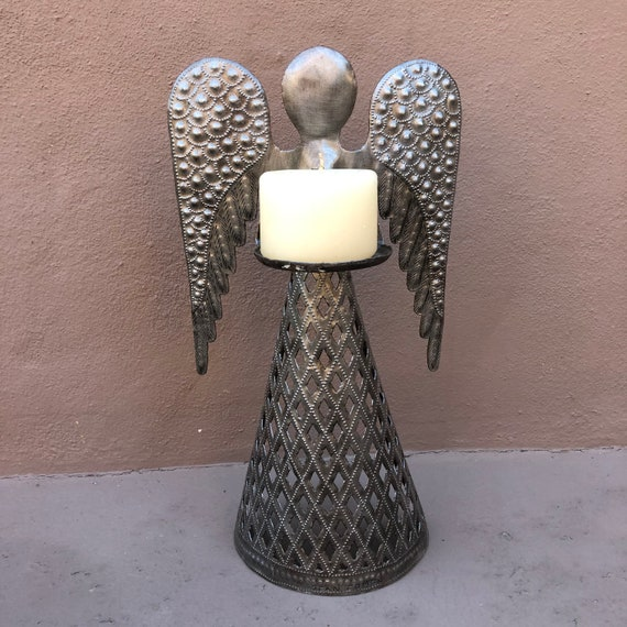"Angel Table Top Holiday Gift, Home Decor, Candleholder, Handmade Haiti, 12"" x 6"" x 3"""