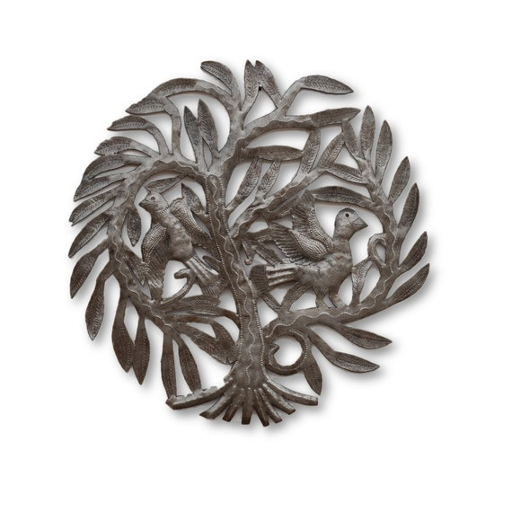 Tree of Life with Flying Birds, Quality Haitian Metal Sculpture, One-of-a-Kind 15x15