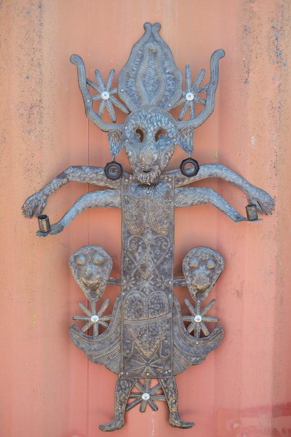 Voodoo Creature, 3D Wall Hanging Artwork, Handmade in Haiti From Recycled Oil Barrels, Fair Trade Art 24x38