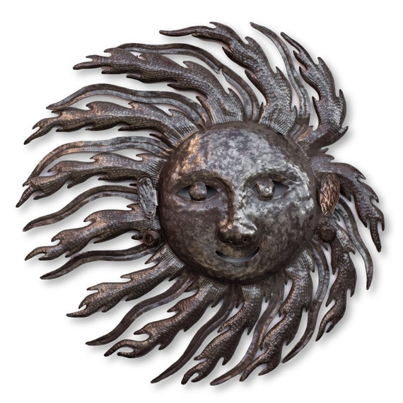 Haitian Metal Art, Windy Sun Handmade From Recycled Oil Barrels, Limited Edition 22x22.5in