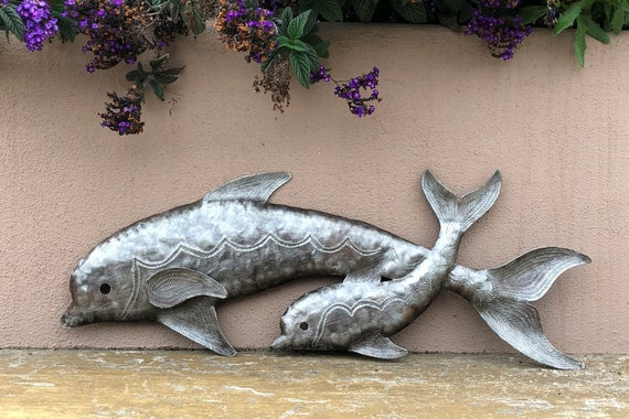 "Momma & Baby Dolphins, Sealife, Reclaimed Metal Art from Haiti, Quality Craftsmanship 8"" x 22.5"""