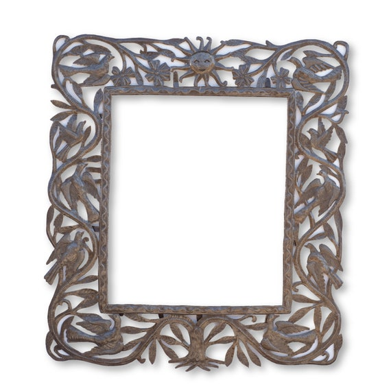 Sunny Frame, One-of-a-Kind Haitian Metal Sculpture, Home Decor, 34x31