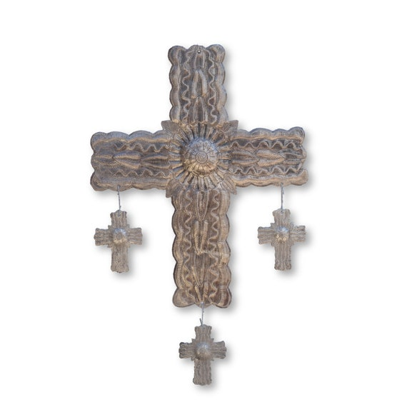 Flower Cross with Three Hanging Milagros Handmade in Haiti, Religious Art 13x20.5