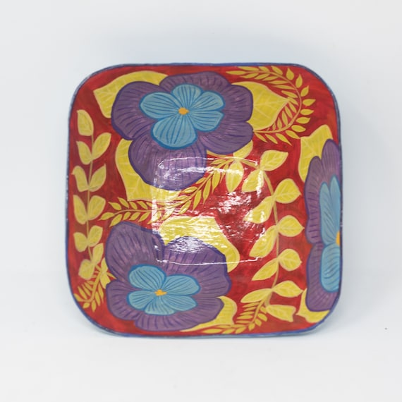 """Small Decorative Square Floral Bowl, Purple & Blue Flowers, One-of-a-Kind Dinnerware 6.5""""x6.5"""""""