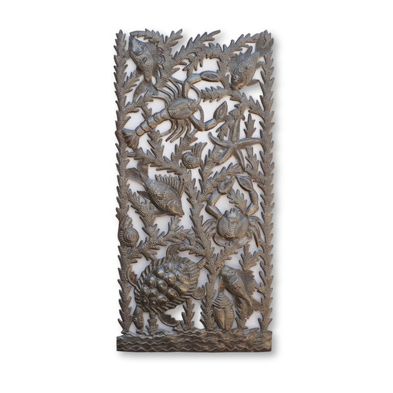 Sea Life Handcrafted Metal Sculpture, One-of-a-Kind Recycled Metal Art 16.5x34