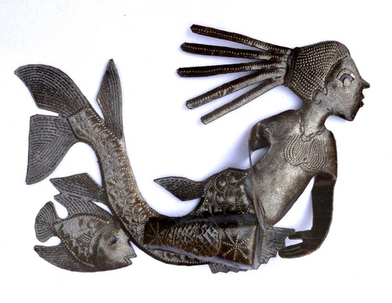 """Musical Mermaid beating a 3- D Drum with traditional veve, Haiti Recycled Metal Wall Art, 10 1/2"""" x 6 1/2"""""""