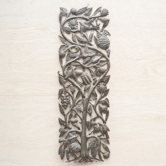 Fruit Tree of Life, Large Metal Sculpture Handmade in Haiti, One-of-a-Kind 11x33