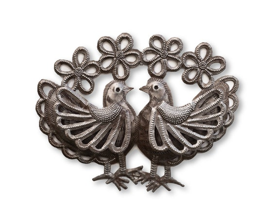 Small Metal Love Birds, Doves Wall Art, Home Decorations, Handmade in Haiti, Flower Branches, 3D, 6.5 x 8 Inches