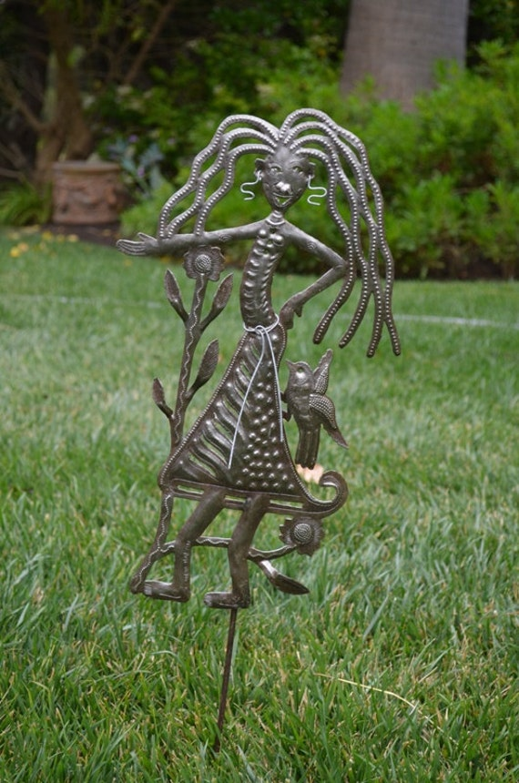 "Garden Stake, Right This Way Girl Spring Metal Plant Stake - Outdoor Garden Yard Decor, Haitian Ornament Patio Marker 10"" X 17"""