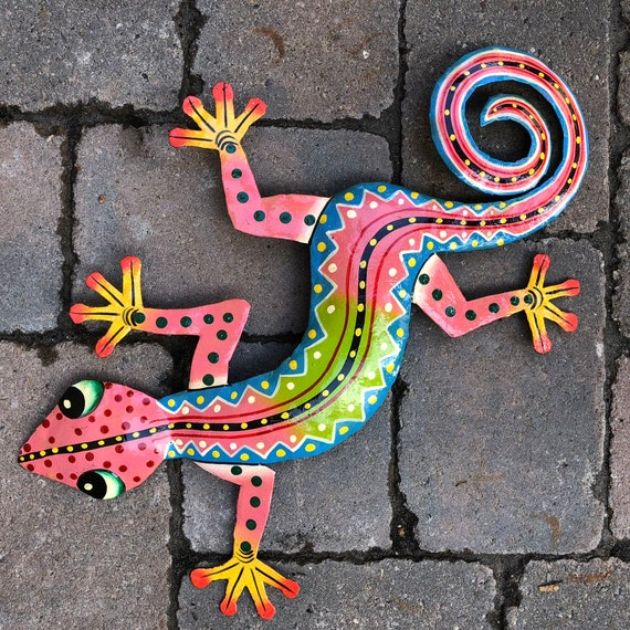 "Gecko, Colorful Hand Painted In Haiti 18"" X 10"""