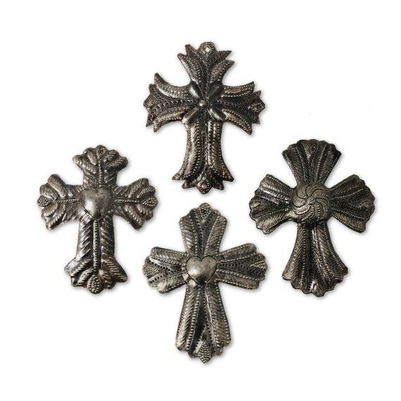 "Set of 4 Small Metal Milagro Crosses, Novelty Gift, Small Ornamental Crosses, Handmade in Haiti, Sacred Cross, 3 1/2"" X 4 1/2"""