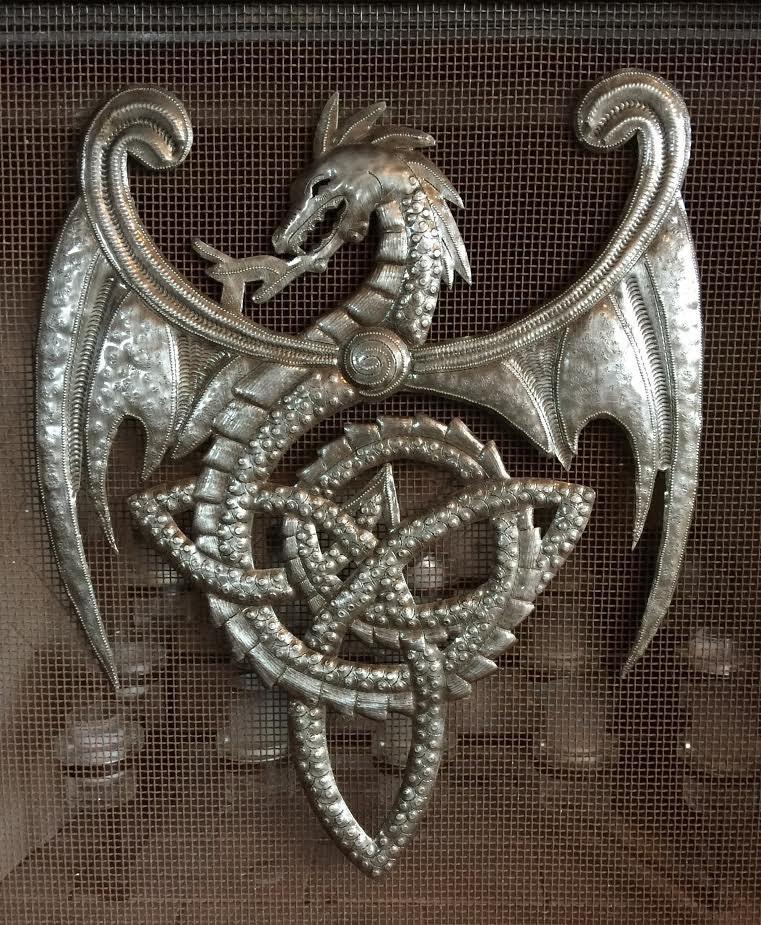 Metal Dragon with Celtic Knots, Artistic Haitian Metal Wall Artwork ...