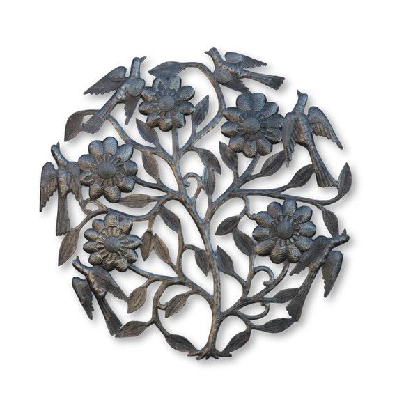 Haitian Garden Decor, Flower & Birds Tree of Life Handmade Sculpture, Fair Trade 23x23in