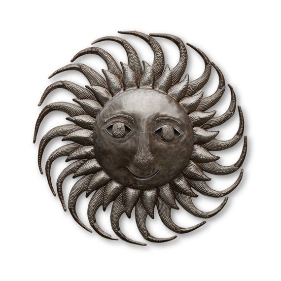 Warm Summer Rustic Sun Made in Haiti, One-of-a-Kind Metal Sculpture 17x17.5