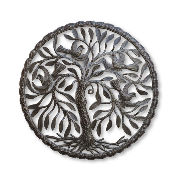 Metal Garden Decor, Tree of Life with Birds Handmade in Haiti, One-of-a-Kind Home Art 24x24in.