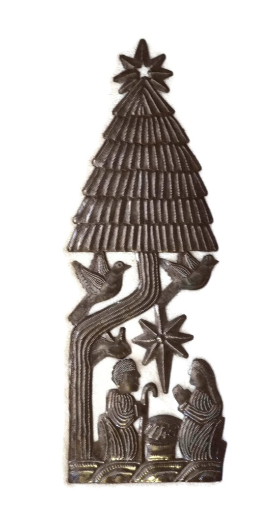 "Christmas Tree, Creche, Nativity Scene, Haitian Metal Steel Drum Art 6"" x 18"""