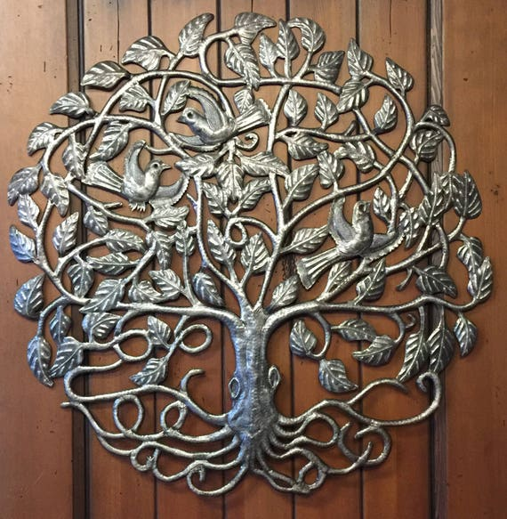 "Large Tree of Life by Julio Balan, Metal Wall Art, Fair trade from Haiti, 32"" x 32"""