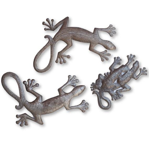 Geckos in the Garden, One-of-a-Kind Reclaimed Haitian Metal Sculptures