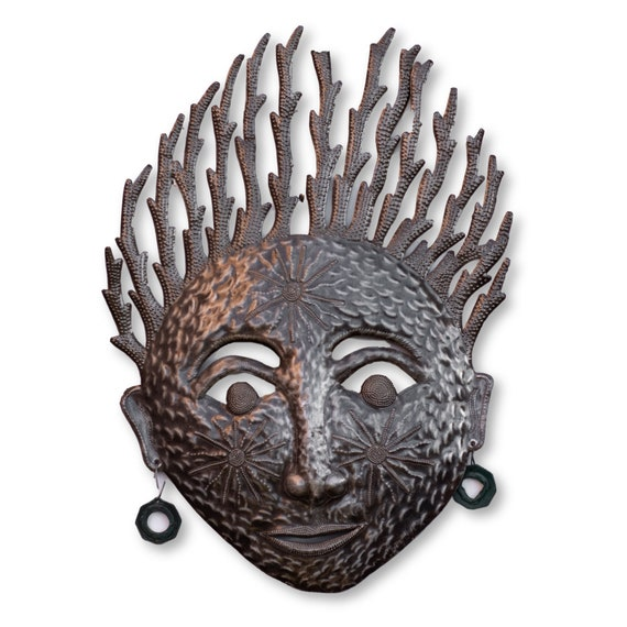 Haitian Metal Art, Painted Face Mask Handmade Home Decor, Limited Edition Fair Trade 22.5x16in