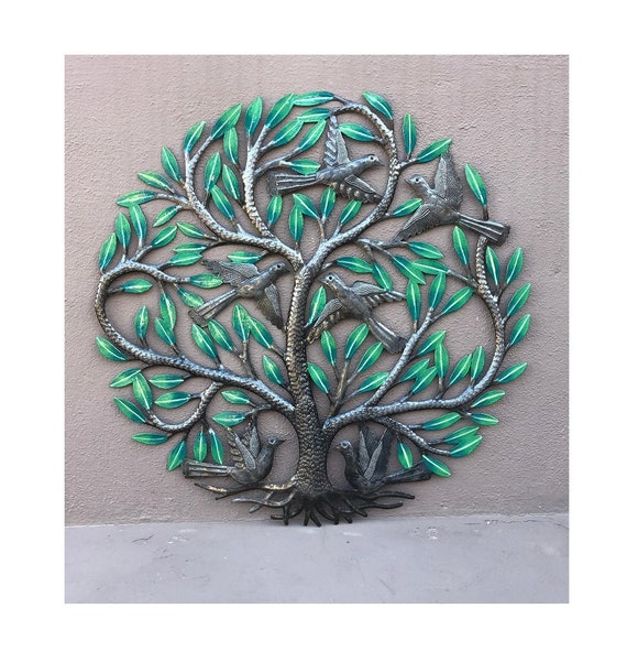 New Painted Tree of Life with Birds, Decorative Family Living Room Ideas, Handmade in Haiti, 23""