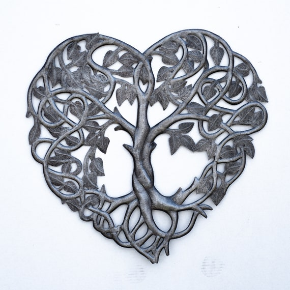 Heart Tree of Life Handcrafted, Haiti Recycled Metals, Limited Edition 21.5x21.5