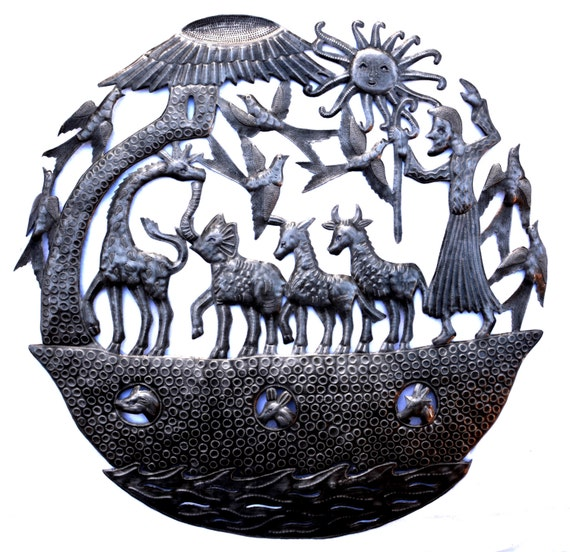 "Noah's Ark Wall Sculpture, Metal Wall Art, Fair trade from Haiti, Holiday gift giving 32"" X 32"""