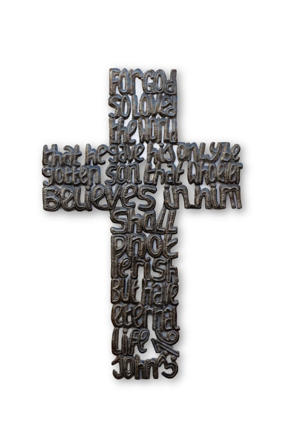 John 3:16 Cross, Quality Recycled Haitian Metal Art, Limited Edition 15.5x24