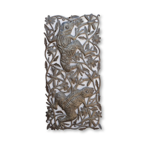 Leaping Frogs with the Dragonflies Sculpture, One-of-a-Kind Haitian Metal Art 16x33
