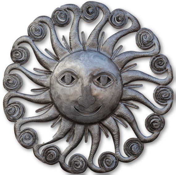 Summer Spiral Sun, Quality Haitian Metal Sculpture, Limited Edition 22 1/2 x 22 3/4