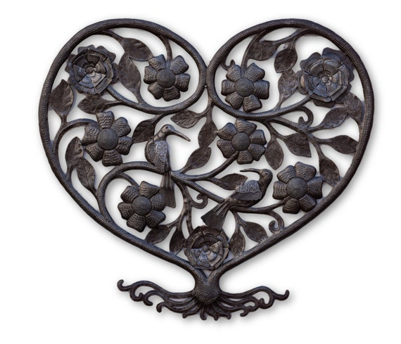 Tree of Love, Quality Haitian Metal Sculpture, One-of-a-Kind Art 22.5x20.5