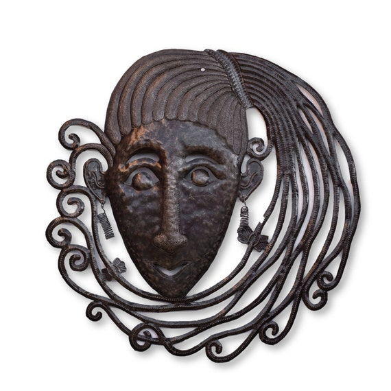 Haiti Metal Art, 80's Girl Handmade From Recycled Oil Barrels, Limited Edition 23x23.5in.