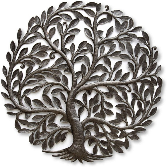 Large Organic Tree of Life  Wall Art, Farm House Rustic Haitian Metal, Hand Hammered Steel, Garden Artwork, Recycled iron Barrel 33.5""