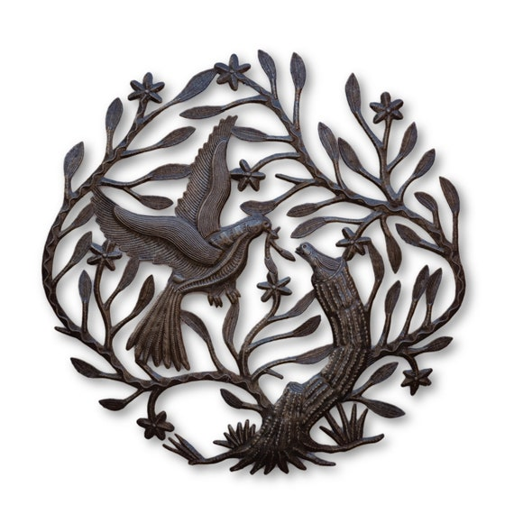 Making a Nest, Quality Haitian Metal Sculpture, One-of-a-Kind 22.5x23