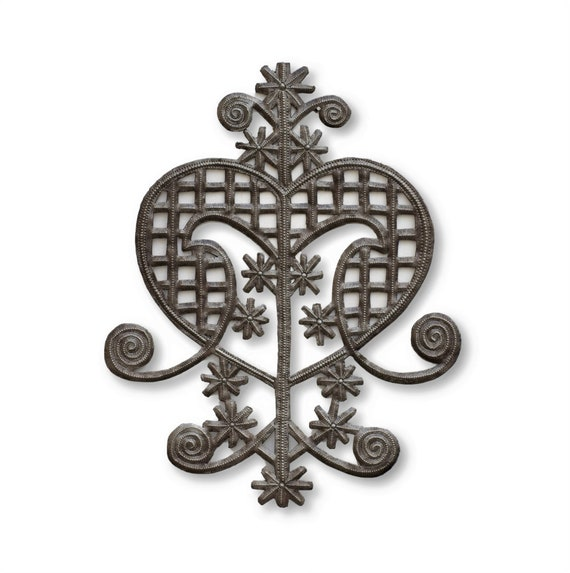 Decorative Veve Heart, Metal Plaque Wall Hanging Artwork, Original Haitian Collection, Handmade from Recycled Steel Barrels 11.5x14  Inches
