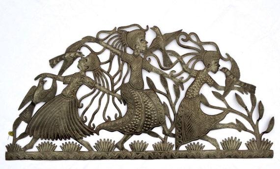 "Girls Dancing, Haitian Metal Art, Recycled Steel, Handmade, Fair Trade 34"" x 17"""