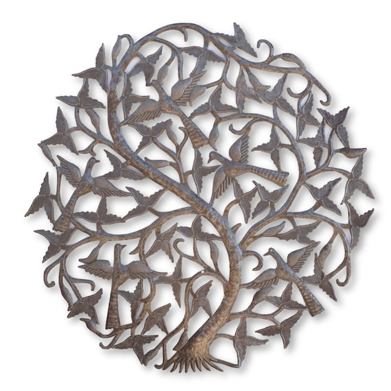 Flying Birds in Tree of Life Handcrafted in Haiti, Unique Metal Sculpture, 33x34