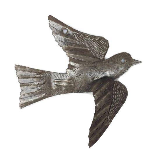 """Garden Metal Bird Recycled Steel Drum Art 3-d Wings, Haitian Art, flock of birds, Novelty gift, 5"""" x 4.5"""""""