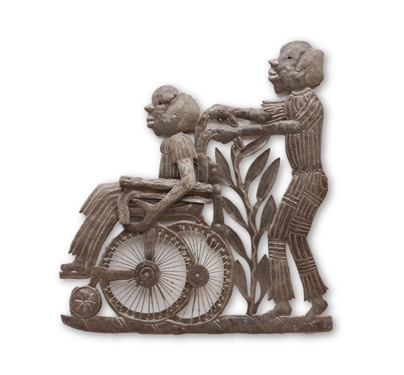 Taking Care of Father, Quality Haitian Metal Art, One-of-a-Kind Sculpture 18x19