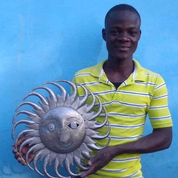 "Sun with Swirl Rays, Metal Wall Art, Decorative Home Decor, Handmade in Haiti, 17.5"" Round"