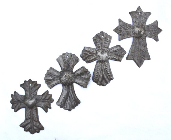 "Small Metal Crosses, Milagro Charm Designs, Ornaments, Novelty Gift, Handmade in Haiti  (Set of 4) 3 1/2"" X 4 1/2"""