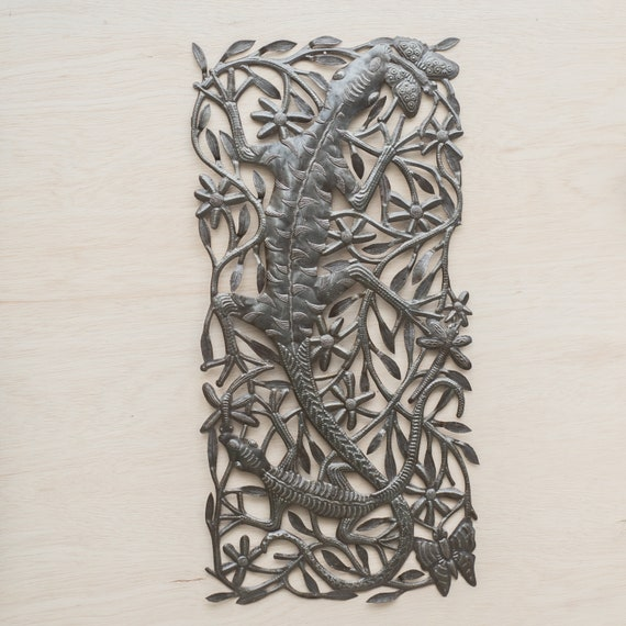 Geckos in Haiti Large Metal Sculpture Handmade in Haiti, One-of-a-Kind 33x16.5