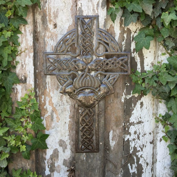 "Celtic Cross, Metal Wall Art Collection, Novelty Gift  Handmade in Haiti, 11.5"" X 18"""
