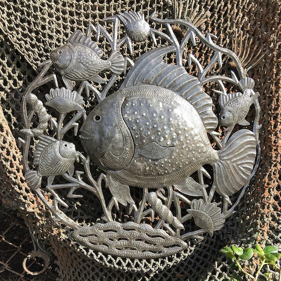 "Fisherman's Catch, Sea Life Artwork, Reclaimed Metal Wall Art from Haiti, Quality Craftsmanship 23"" X 23"""