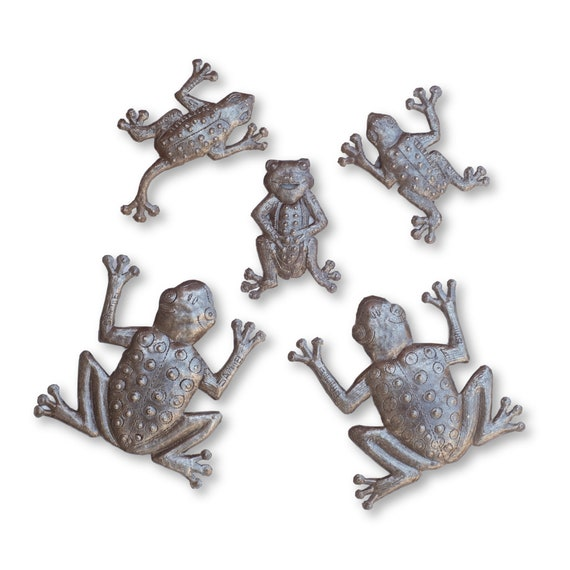 Frog Family of Five, Quality Haitian Metal Garden Sculpture Handmade in Haiti